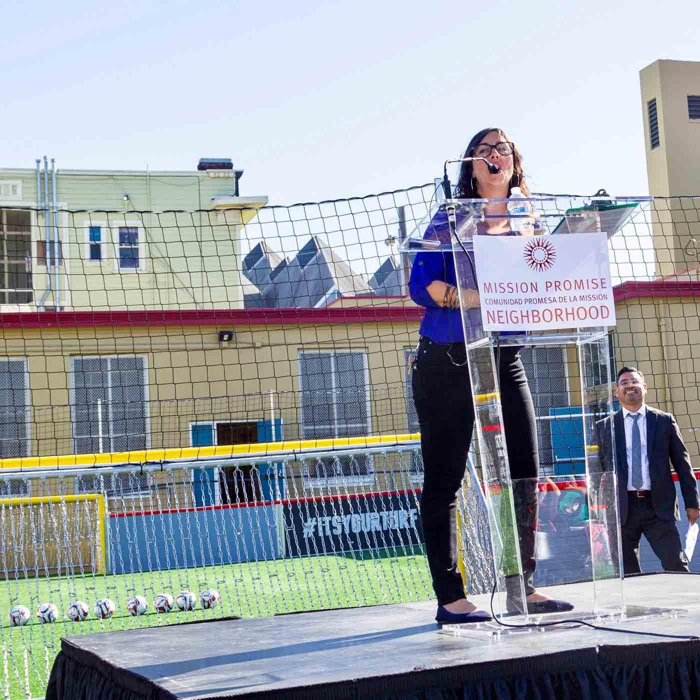 Claudia DeLarios Moran speaking a Buena Vista Horace Mann Soccer Park San Francisco