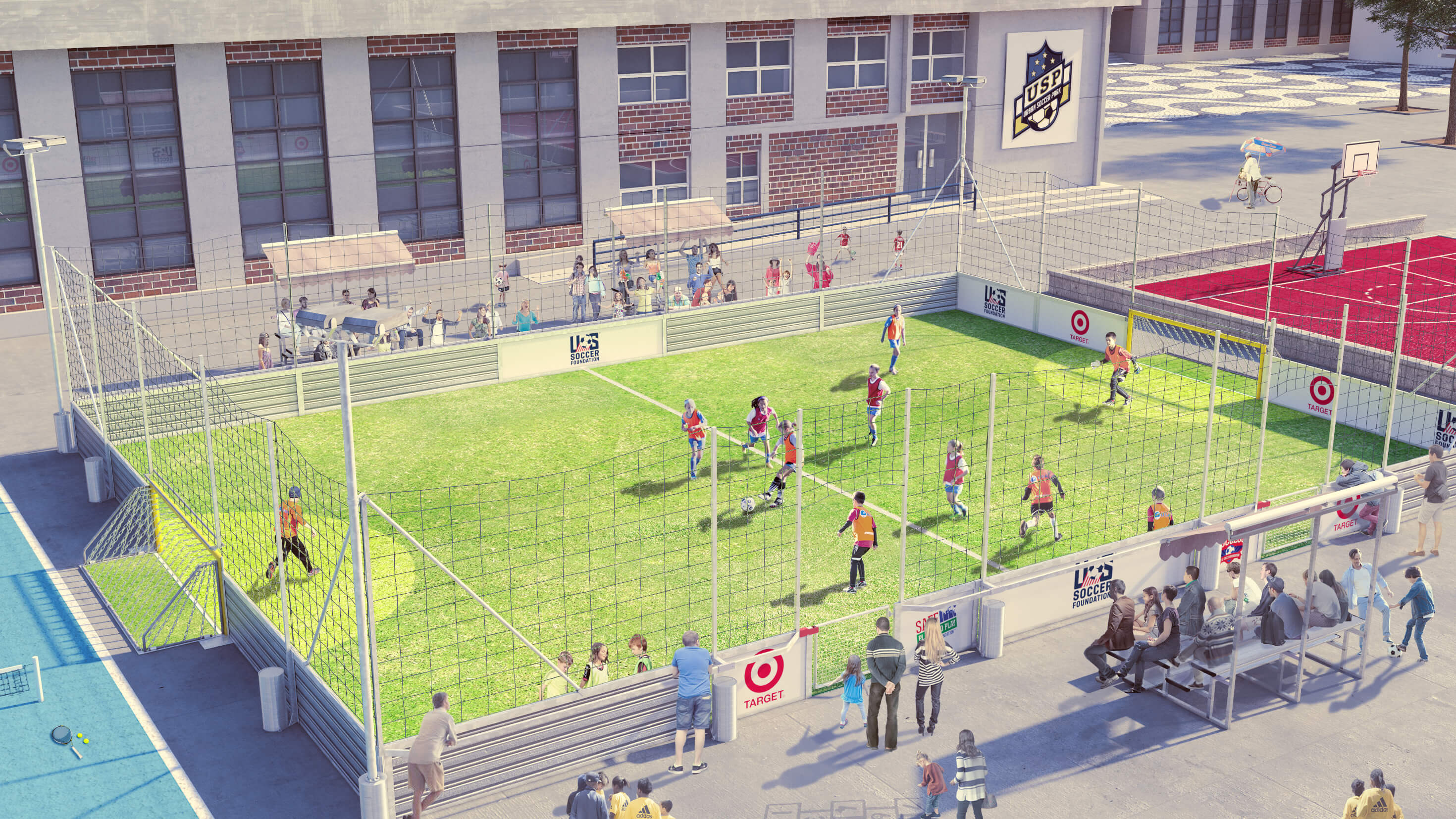 rendering of an urban soccer park at a corporate office building