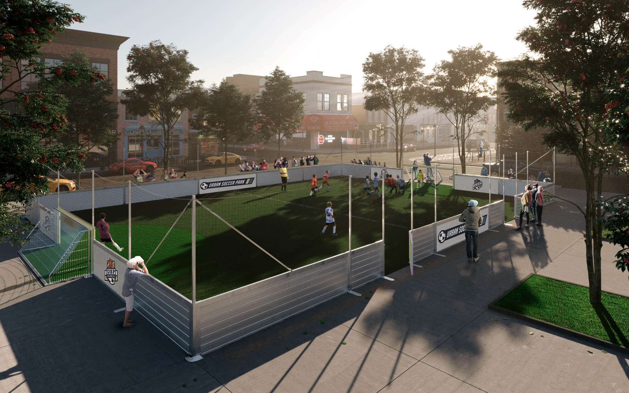 rendering of soccer field for individual consumers