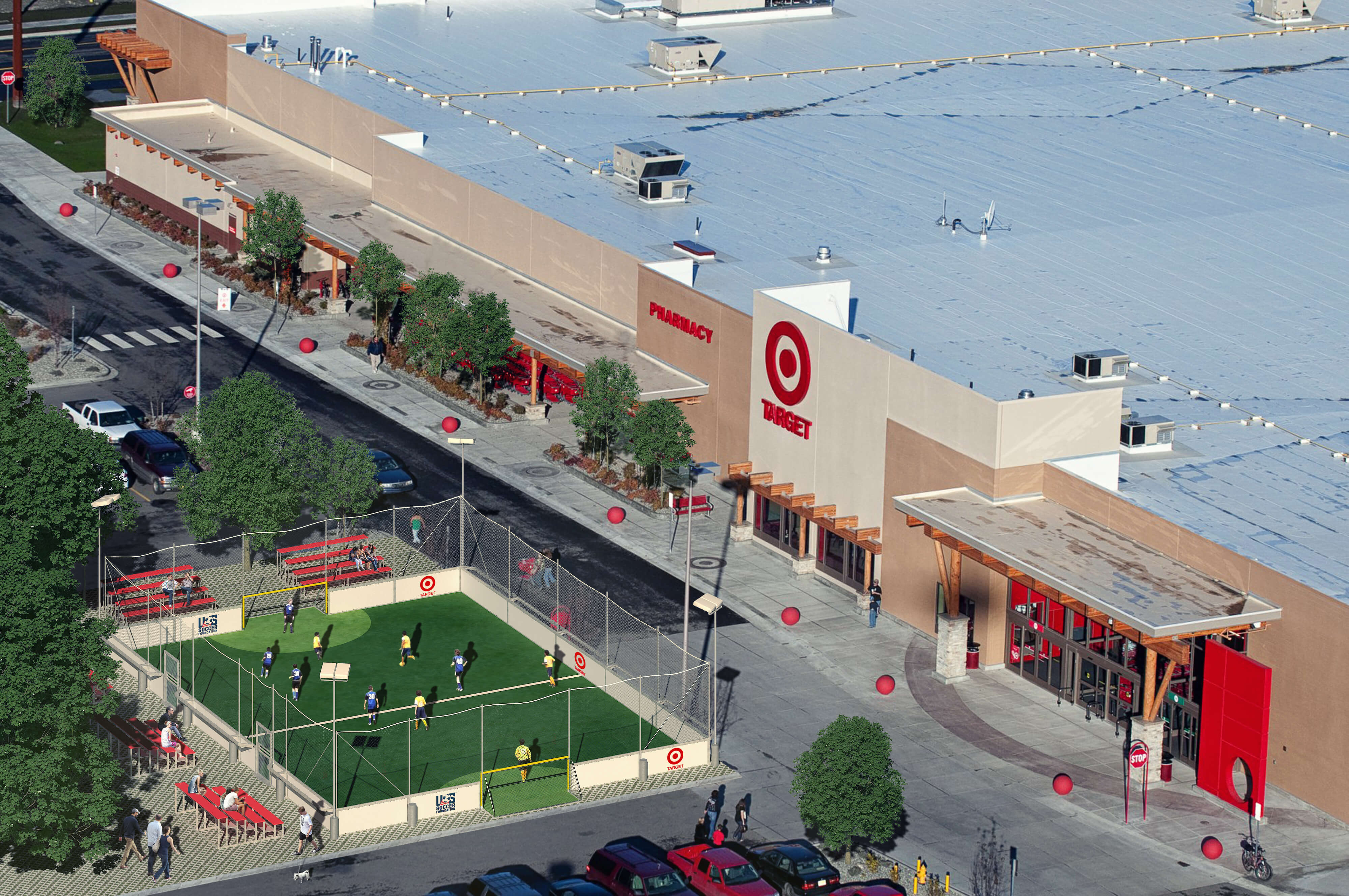 aerial view of mini soccer park next to a target