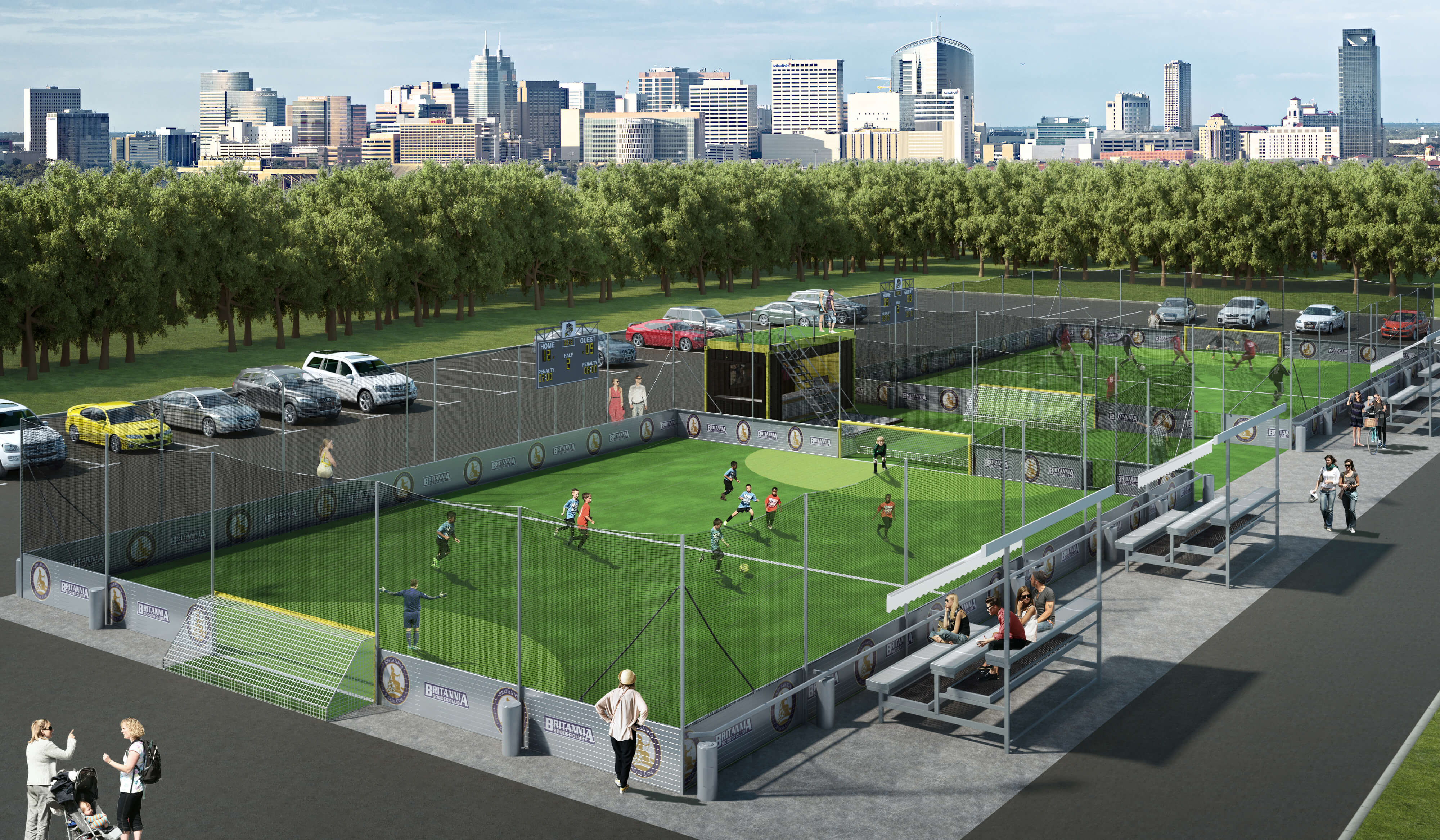 rendering of two soccer fields at a soccer club